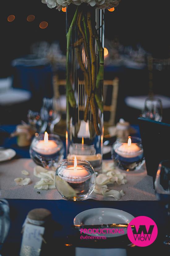 Centre de table, chandelles, fleurs